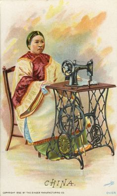 Singer Advertising Card - Chinese Woman | Postcard | Wisconsin Historical Society