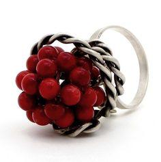 Coral Ring in Sterling Silver / Handmade rhodium by emmanuelaGR, $59.00