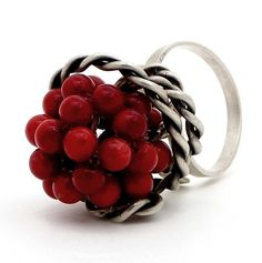 Coral Ring in Sterling Silver / Handmade rhodium by emmanuelaGR