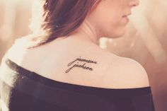 childrens names tattooed on shoulder