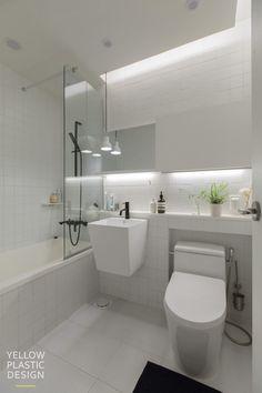 스웨그 넘치는 가족의_남양주 별내 효성 헤링턴코트 35평형 아파트 인테리어 [옐로플라스틱/yellowplastic/옐로우플라스틱] : 네이버 블로그 Contemporary Bathroom Designs, Bathroom Design Small, Bad Inspiration, Bathroom Inspiration, Apartment Interior Design, Bathroom Interior Design, Shower Over Bath, Fitted Bathroom, Toilet Design