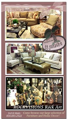 """SHOP LOCAL this Christmas at GG Ganache 3rd & Historic Main Street Marble Falls COME AND BROWSE OUR WIDE SELECTION OF ONE OF A KIND FURNITURE AND ACCESSORIES. REMEMBER, WE ARE... """"the icing on the cake""""  Like us on Facebook and receive 10% off your next purchase!  Please tell our friends at gg ganache that www.WeAreMarbleFalls.com sent you!  gg ganache - 301 Main Street - Marble Falls"""