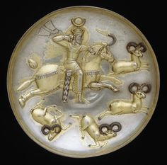 A Sassanid king hunting rams, said to be from Qazvin, mid 5th - mid 6th century. Metropolitan Museum of Art, New York