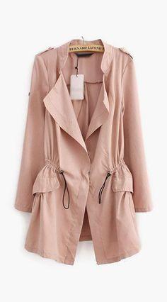 Drawstring Design Long Sleeve Pink Trench Coat