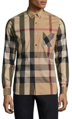 Burberry Thornaby Check Casual Button-Down Shirt Mens Designer Shoes,  Designer Clothes For Men 358b3017cb0