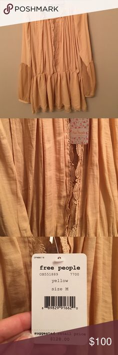 Free People Yellow Blouse Free People Yellow Blouse, Size M, new with tags! Free People Tops