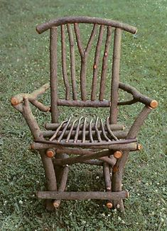 Golf Clubs Repurposed Handcrafted rustic chair made from branches and willow twigs. Perfect for a garden or porch. - Handcrafted rustic chair made from branches and willow twigs. Perfect for a garden or porch.