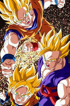 Goku, Gohan y Goten, los tres peleando juntos <3
