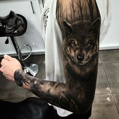 Healed wolf tattoo on sleeve by DrewApictureTattoo, THE TATTOO SHOP, Gold Coast Hwy Burleigh Heads QLD 4220, Australia: