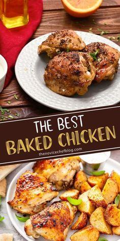 Best Baked Chicken Recipe, Baked Marinated Chicken, Best Chicken Thigh Recipe, Chicken Thigh Recipes Oven, Bone In Chicken Recipes, Baked Chicken Breast, Healthy Chicken, Simple Baked Chicken Recipes, Paleo Recipes Dinner Chicken