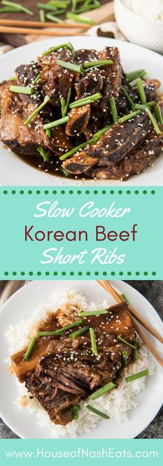 Slow Cooker Korean Beef Short Ribs (Kalbi) are literally falling-off-the-bone tender from a long, slow cooking process braising in a flavorful marinade that doubles as a fantastic slightly sweet and savory sauce that can be drizzled over the cooked short ribs and white rice. #korean #shortribs #beef #ribs #slowcooker #crockpot