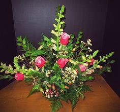 Triangle rose arrangement Rose Arrangements, Florals, Wedding Flowers, Triangle, Plants, Floral, Flowers, Plant, Planets