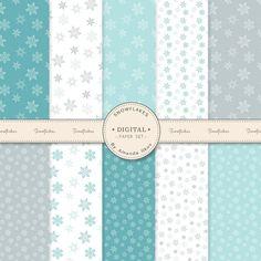 Premium Snowflake Digital Paper Set Snowflake by AmandaIlkov