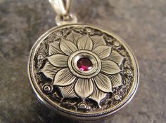 Hand Engraved Sterling Silver Rosette with Lab by JelliesJewelry, $128.00