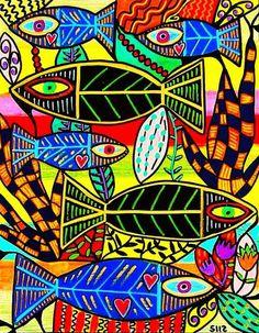 Sous le signe du poisson - Les cahiers de Joséphine Zentangle, Josephine, Arte Popular, Ocean Art, Coraline, Blue Art, Linocut Prints, Folk, Art Plastique
