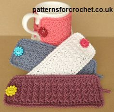 For a pretty button. Free crochet pattern for a simple mug cozy by Patterns For Crochet. It's a simple cozy that can be used on mugs and other cups as you can adjust the size. Crochet Coffee Cozy, Crochet Cozy, Crochet Gifts, Cute Crochet, Crochet Yarn, Crochet Stitches, Simple Crochet, Double Crochet, Mug Cozy Pattern
