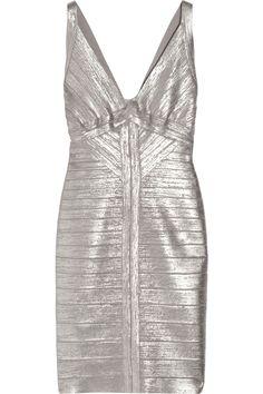 HERVÉ LÉGER  Metallic bandage dress