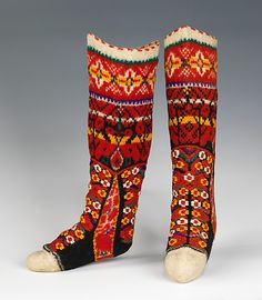 Stockings, so colourful!  Date: fourth quarter 19th century Culture: Hungarian Medium: wool Metropolitan Museum of Art  Accession Number: 2009.300.3416a, b