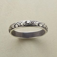 VINEYARD RING--Leafy scrolls emerge from this Chris Dungan sterling silver ring, with an oxidized background on a bas-relief band. Handcrafted in USA. Whole sizes 5 to 9.