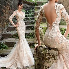 Backless all lace cream trumpet dress with sheer lace sleeves