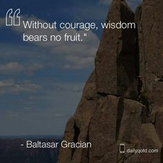 """""""Without courage, wisedom bears no fruit.""""   >   >   >   Baltasar Gracian"""