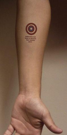 37 Small Tattoo Ideas For Big Avengers Nerds 37 Small Tattoo Ideas For Big Avengers Nerds Tattoos captain america tattoo Marvel Tattoos, Avengers Tattoo, Smal Tattoo, 16 Tattoo, Home Tattoo, Tattoo Quotes, Deep Tattoo, Song Lyric Tattoos, Club Tattoo