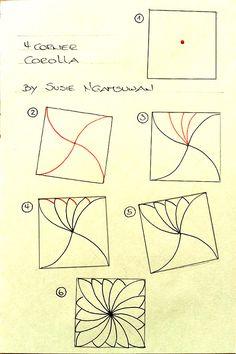 https://flic.kr/p/Ve9mqW | 4-063-4-corner-corolla-step-out | 4-Corner Corolla tangle pattern step-out
