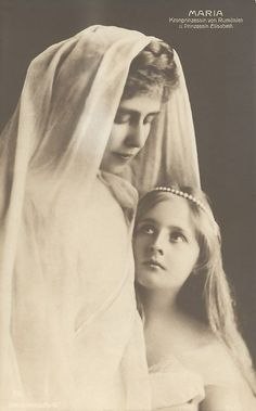 Crown Princess Marie of Romania and her eldest daughter, Princess Elisabeth (later Queen of the Hellenes). 1907.