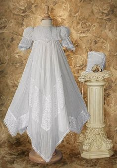 Chimala Victorian Lace Heirloom Christening Gown with Handkerchief Styled Hem Christening Outfit Girl, Lace Christening Gowns, Baptism Dress, Baby Christening, Victorian Children's Clothing, Victorian Lace, Vintage Lace, Vintage Clothing, Vintage Dresses