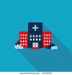 hospital building flat style icon with long shadows