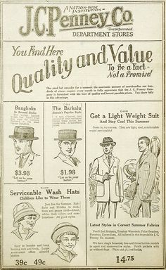 May 31, 1923 - J.C. Penney advertisement for hats and suits in the Wausau Daily Record Herald.