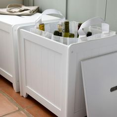 White wooden storage box in classic utility room Laundry Box, Small Laundry Rooms, Utility Room Storage, Storage Bins, Storage Ideas, Wooden Storage Boxes, Decorative Storage, Recycling Bin Storage, Recycling Ideas
