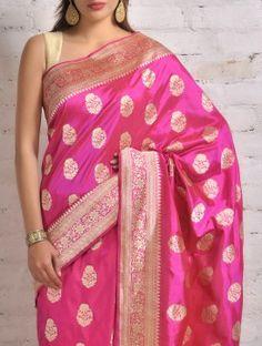 Deep Pink Banarasi Silk Saree by Ekaya Nalli Silk Sarees, Kanjivaram Sarees, Pure Silk Sarees, Benarsi Saree, Saree Dress, Lehenga Choli, Pink Saree, Bandhani Dress, Yellow Lehenga