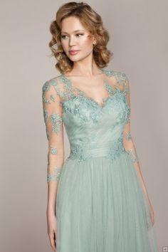 V Neck Illusion 3/4 Sleeves Column Tulle Bridesmaid Dress