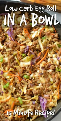 Satisfy your egg roll craving with this Easy Low Carb Egg Roll In A Bowl recipe!… Satisfy your egg roll craving with this Easy Low Carb Egg Roll In A Bowl recipe! Its got all the classic flavors of an egg roll without the carbs! Egg Roll Recipes, Diet Recipes, Healthy Recipes, Recipies, Curry Recipes, Diabetic Food Recipes, Cabbage Low Carb Recipes, Easy Yummy Recipes, Amazing Food Recipes