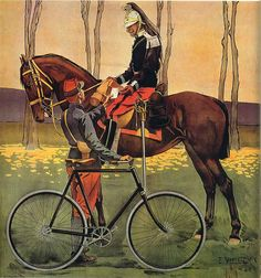 Vintage Soldiers With Bicycle And On Horseback