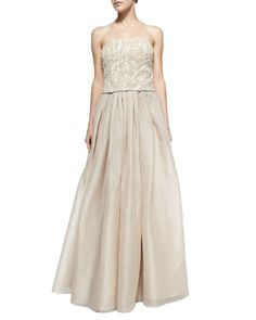 Sabel Feather/Bead-Embellished Bustier Top & Abella Taffeta Ballgown Skirt by Alice + Olivia at Neiman Marcus. Women's Evening Dresses, Prom Dresses, Formal Dresses, Wedding Dresses, 2 Piece Wedding Dress, Bustier Top, Alice Olivia, Neiman Marcus, Ball Gowns