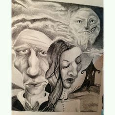 This #surreal #pencil #drawing by @katieweidlein is cool #trippy and #creepy! It also looks like a #twisted version of #AmericanGothic minus the pitchfork. Nice #illustration Katie!  #CreativeAirship