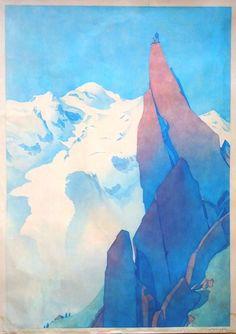 Samivel. Chamonix Mont-Blanc poster. Watercolor / affiche de Samivel, Aquarelle 1972