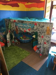 Under the sea role play EYFS Seaside Theme, Sea Theme, Beach Theme Preschool, Activity World, Home Learning, Learning Spaces, Toddler Beach, Play Corner, Role Play Areas