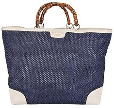 a966650072c Gucci Women s Large Blue Straw Leather Bamboo Handle Handbag Tote Gucci  Handbags