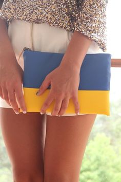 yellow and blue clutch