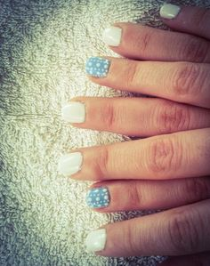 nails, short nails, baby blue, white, dots