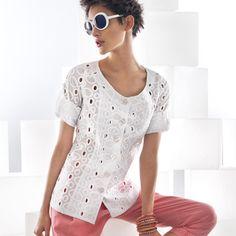 Women's Large Eyelet Button Up Sleeve Shirt #womensfashion #womensshirt #girlsshirt #naracamicie #nara #style #fashion  #photooftheday #beautiful #picoftheday  #style #pretty  #beauty #hot #cool #girls #xmas #xmasgift #xmaspresent