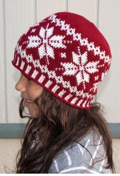 All Ages Frozen Snowflakes Crochet Beanie - Knitting Patterns and Crochet Patterns from KnitPicks.com