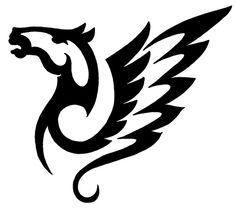 Tribal Winged Horse Tattoo Design 500x443 Pixel