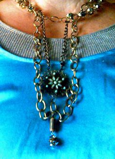 Double chain, double level necklace with antique pendant by rowdylady, $20.00