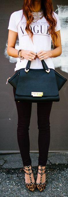 Printed Top Skinny Pants Handbag and Lepord Shoes