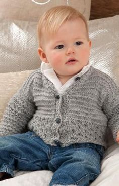 Sweet and Cuddly Baby Cardigan Free Knitting Pattern from Red Heart Yarns