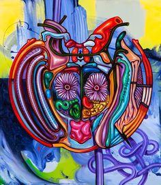 "©Bill Dambrova Common Ancestor Mask (Peyote) 23""x26"" oil and acrylic on canvas  Available"
